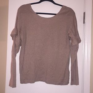 Cute puff sleeve Beige sweater